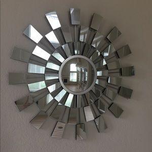 Large wall starburst mirror decor
